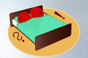 Ehrlich sein - Karikatur Mann und Frau ärgerlich im Bett